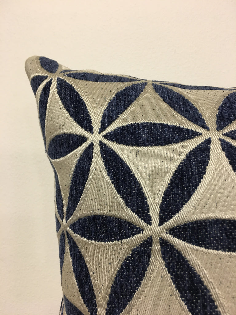 Demeter Navy Throw Pillow 17x17""