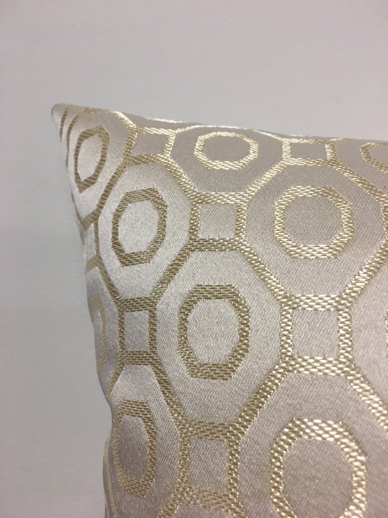 Baritone Ivory Gold Throw Pillow 17x17""