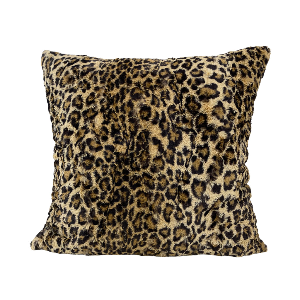 Leopard Sand Faux Fur Throw Pillow 20x20""
