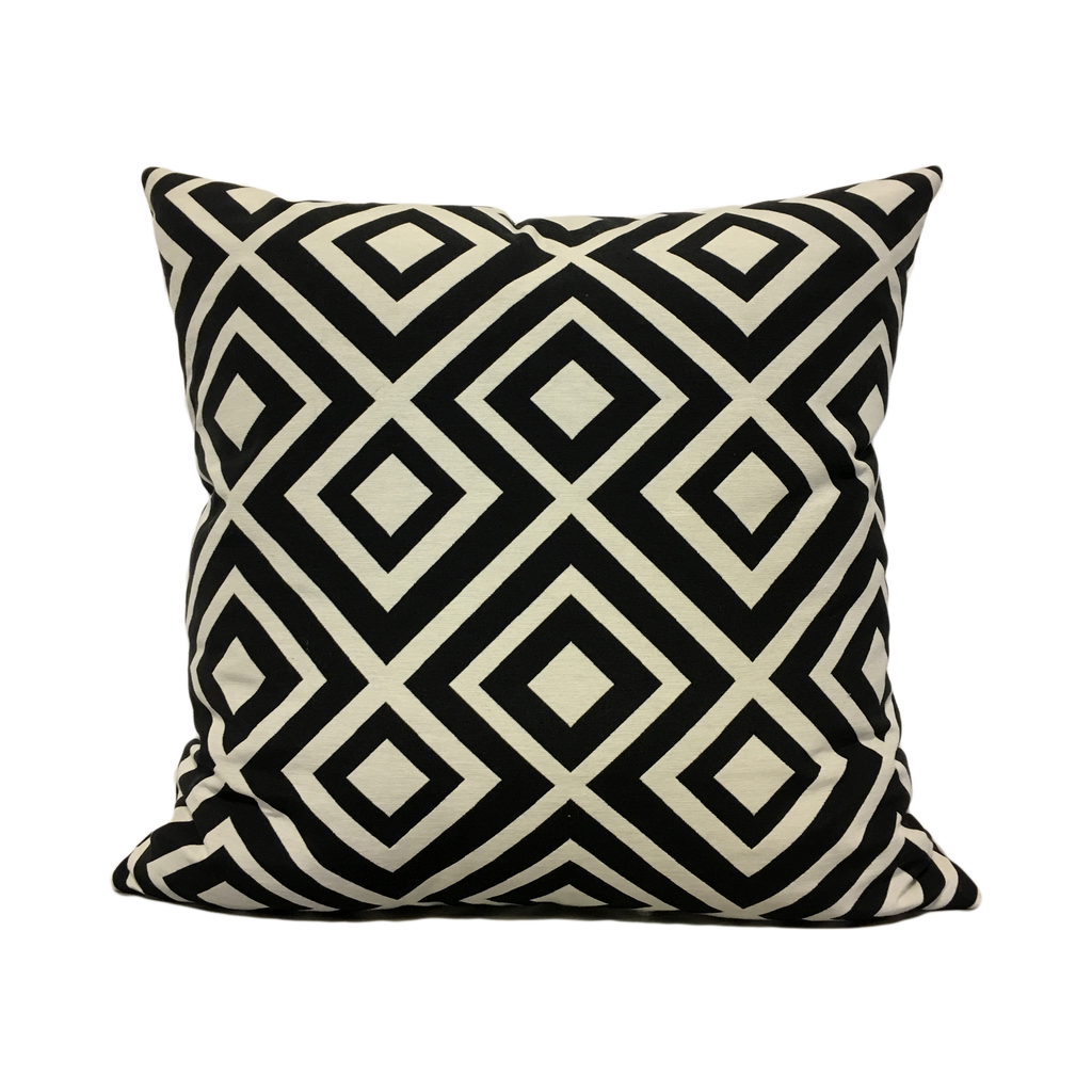 Lodi Caviar Black Geometric Throw Pillow 20x20""