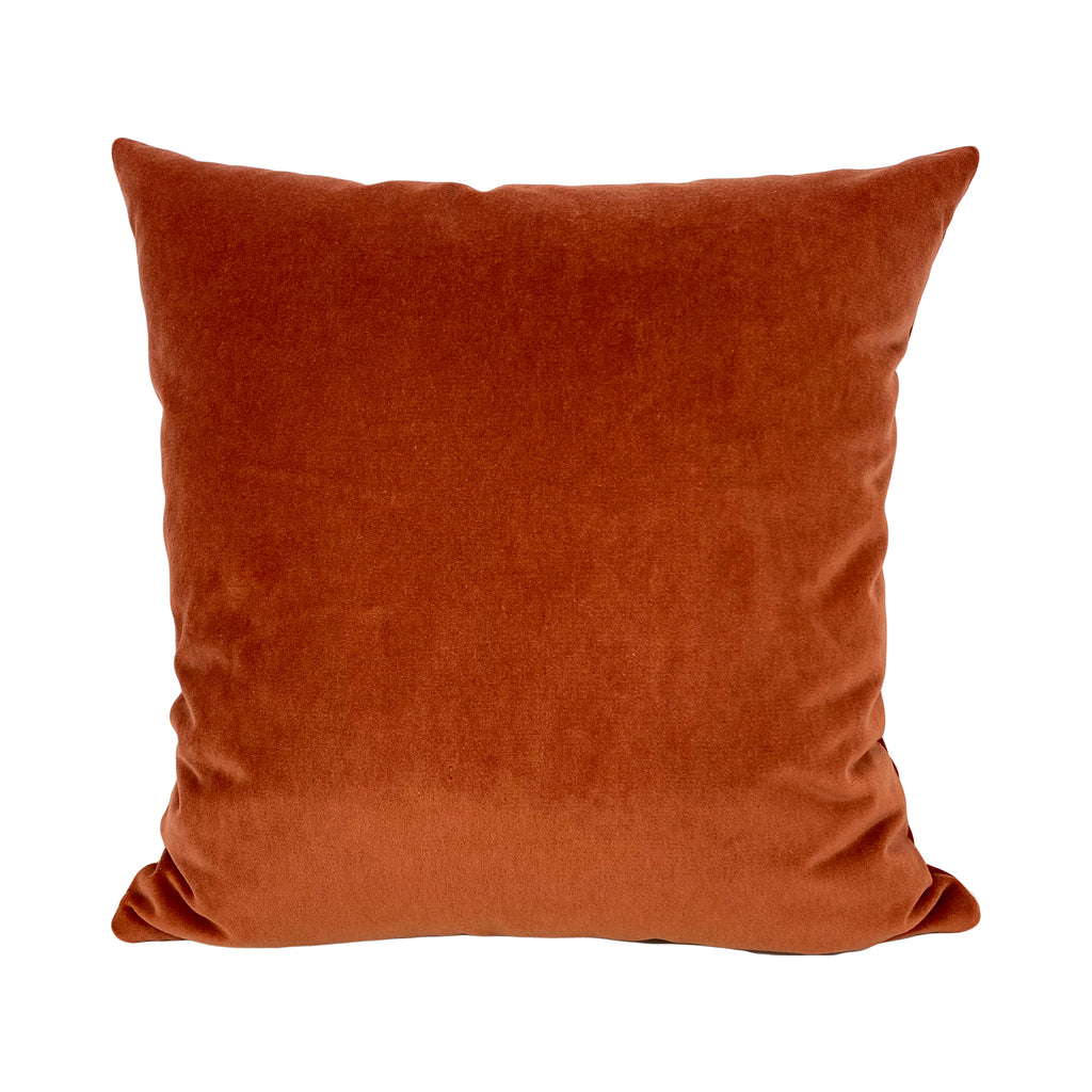 Luscious Velvet Mandarin Orange Throw Pillow 20x20""