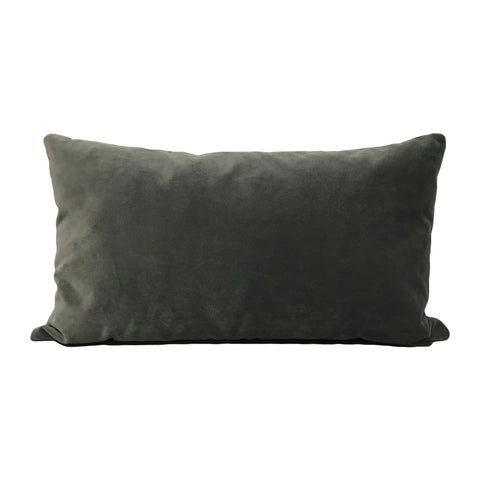 Luscious Velvet Charcoal Lumbar Pillow 12x22""