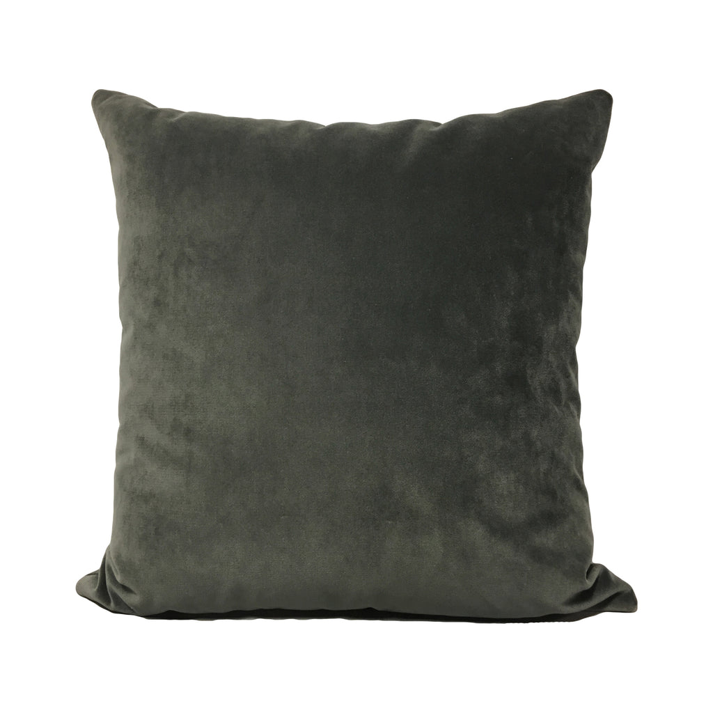 Luscious Velvet Charcoal Throw Pillow 20x20""