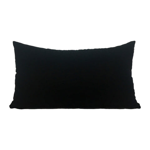 Lux Velvet Black Lumbar Pillow 12x22""