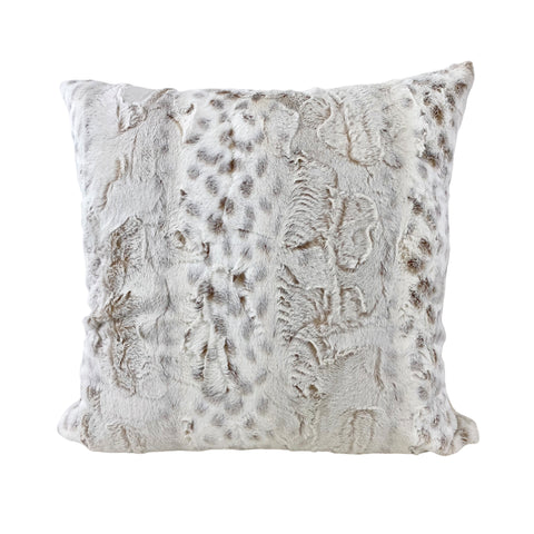 Lynx Frost Taupe Faux Fur Throw Pillow 20x20""