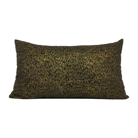 Metallic Mesh Gold Lumbar Pillow 12x22""