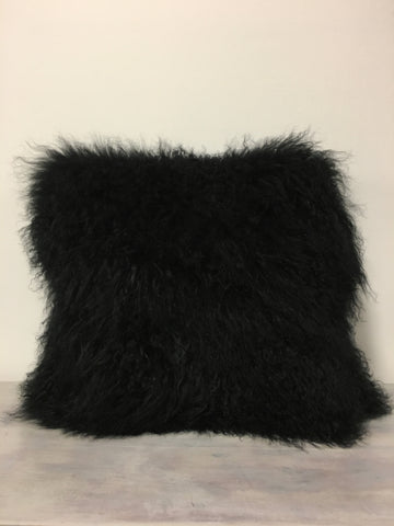 Mongolian Lamb Black Pillow 20x20""