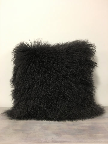 Mongolian Lamb Dark Grey Pillow 20x20""