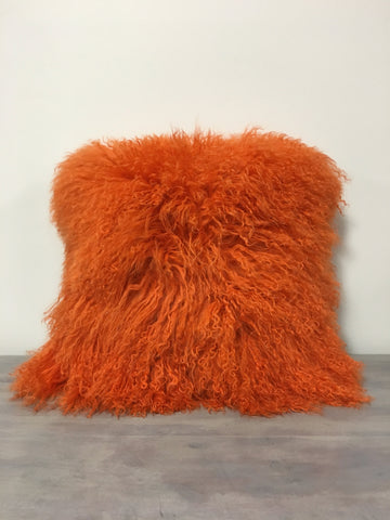 Mongolian Lamb Orange Pillow 17x17""