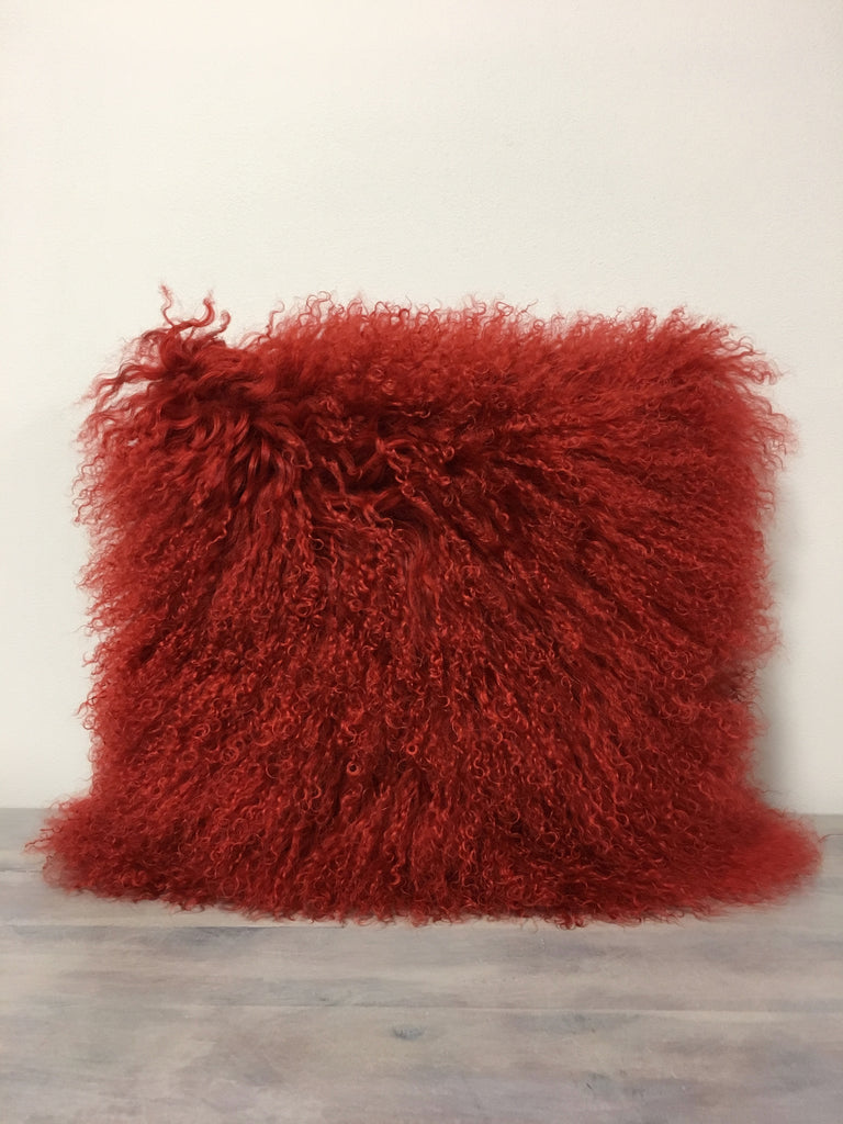 Mongolian Lamb Red Pillow 17x17""