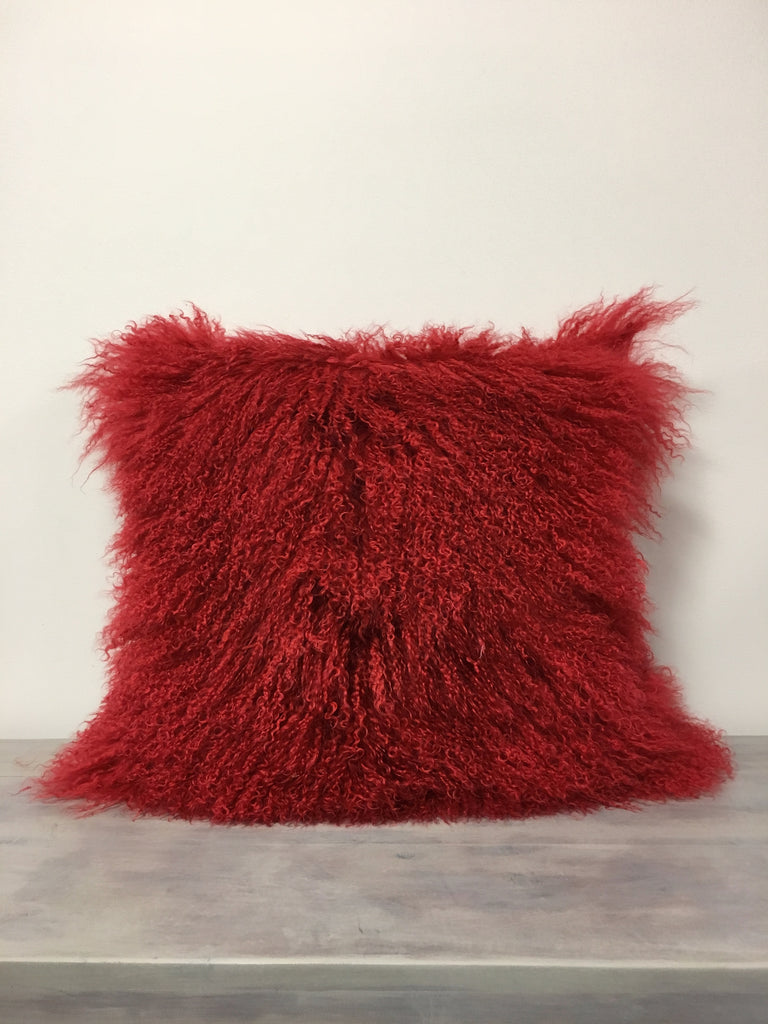 Mongolian Lamb Red Pillow 20x20""