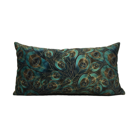 Morgan Peacock Feather Lumbar Pillow 10x21""