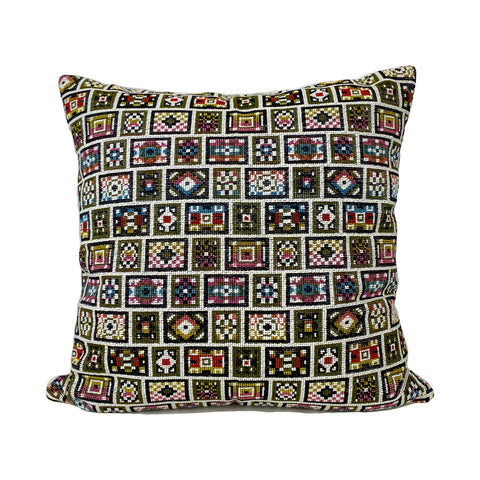 Needlepoint Fantasy Multicolour Throw Pillow 20x20""