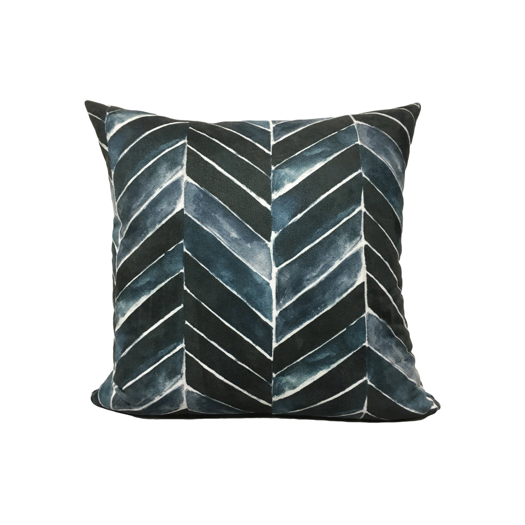 Painted Chevron Indigo Throw Pillow 17x17""