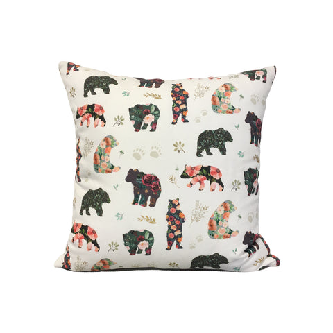 Patchwork Bears Throw Pillow 17x17""