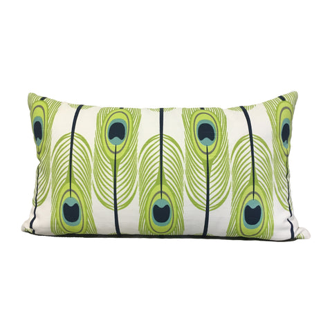 Peacock Lime Lumbar Pillow 12x22""