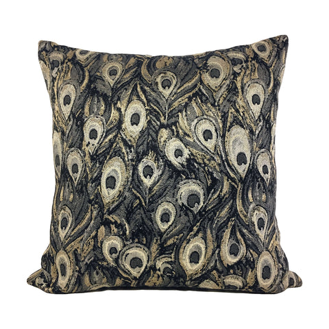 Peacock Silver Throw Pillow 20x20""