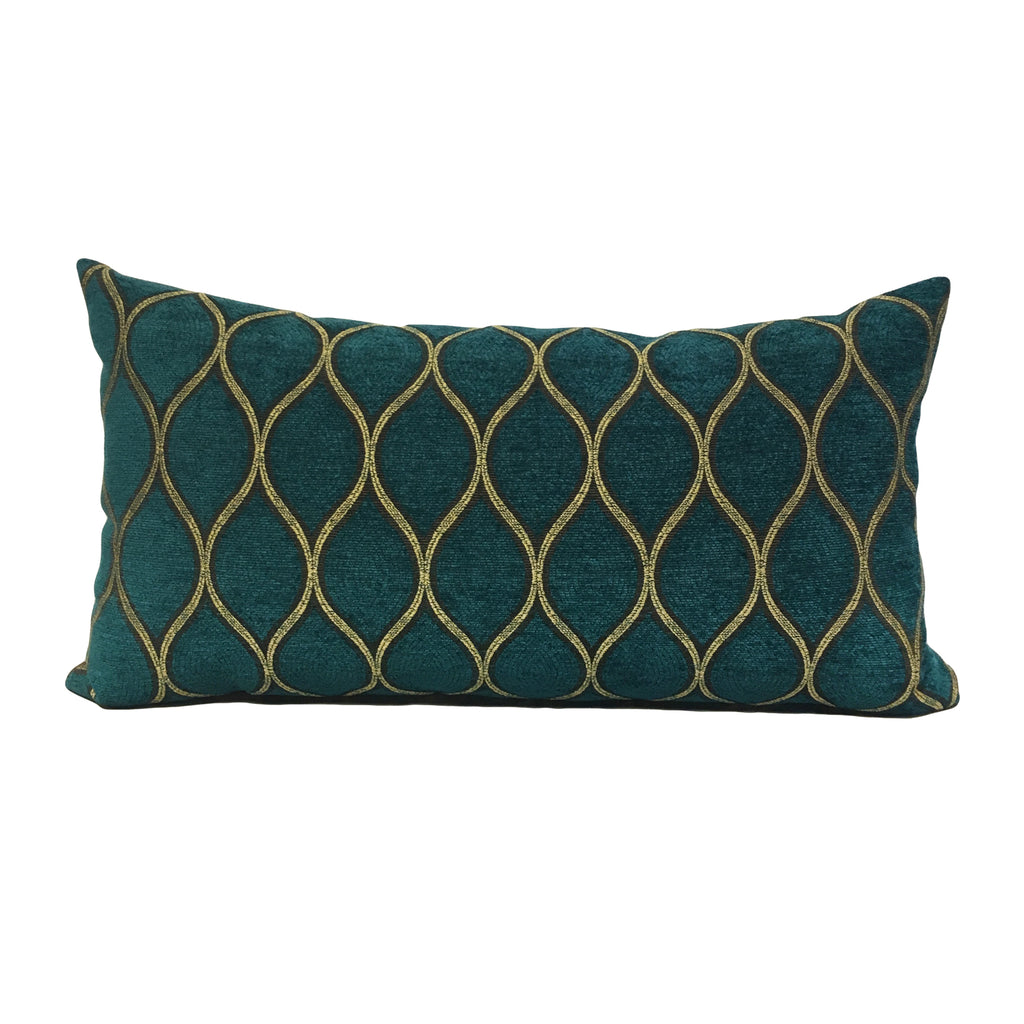 Peacock Still Lumbar Pillow 12x22""