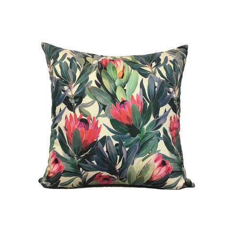 Protea Floral Throw Pillow 17x17""