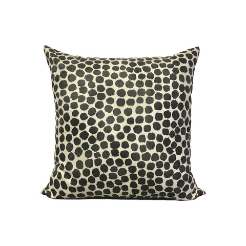 Puff Dotty Onyx Throw Pillow 17x17""