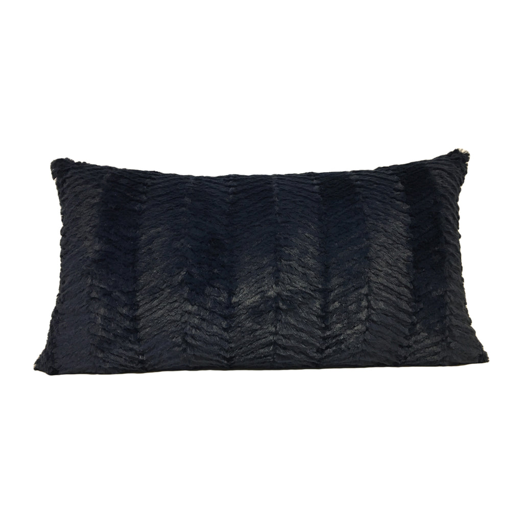 Rabbit Zig-Zag Charcoal Lumbar Pillow 12x22""