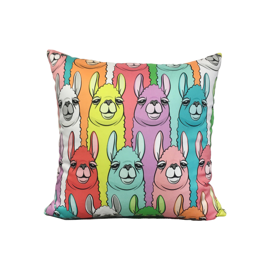 Rainbow Llama Throw Pillow 17x17""