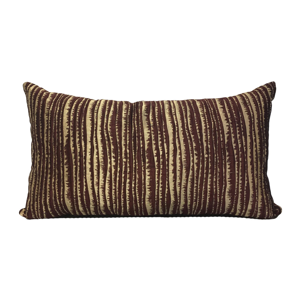 Ripple Wine Gold Lumbar Pillow 12x22""