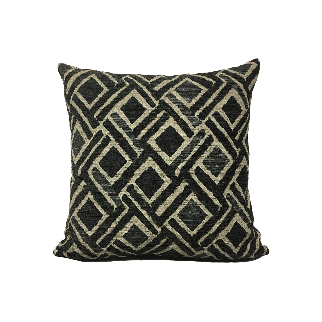 Sabar Charcoal Throw Pillow 17x17""
