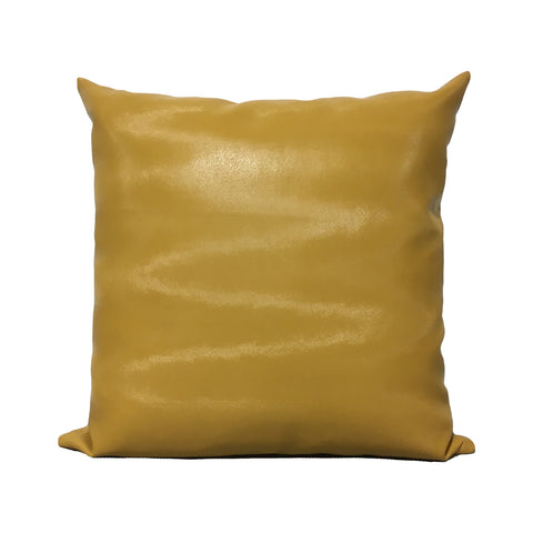 Sixty-Eight Mustang Yellow Leather Throw Pillow 20x20""