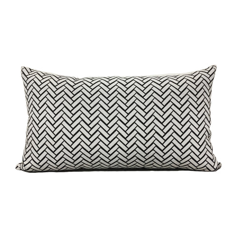 Subway Charcoal Lumbar Pillow 12x22""
