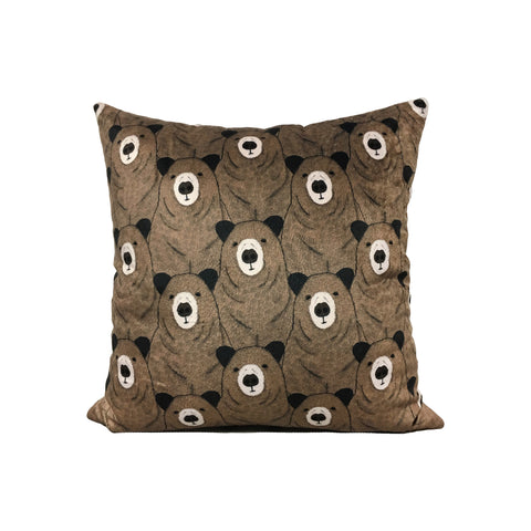 Toby Bear Velvet Throw Pillow 17x17""