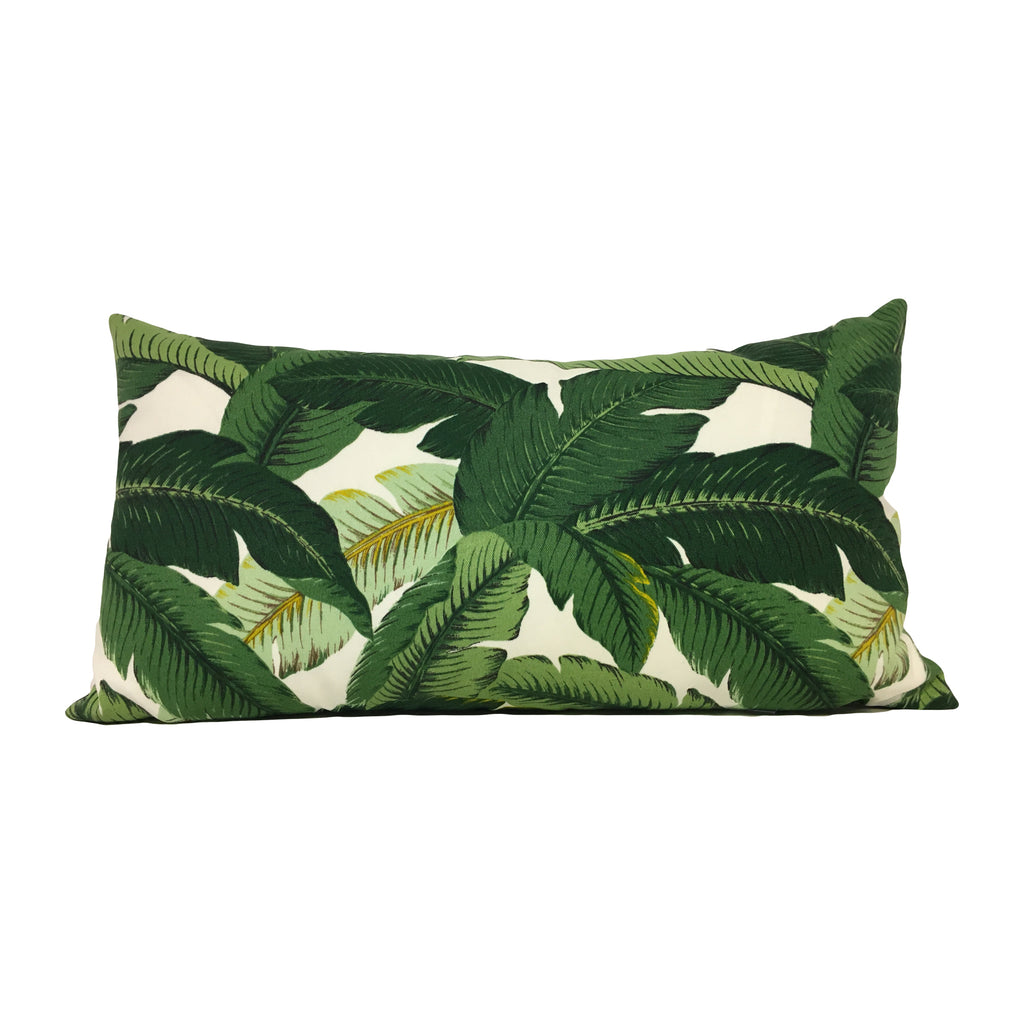 Tommy Bahama Green Banana Leaves Lumbar Pillow 12x22""