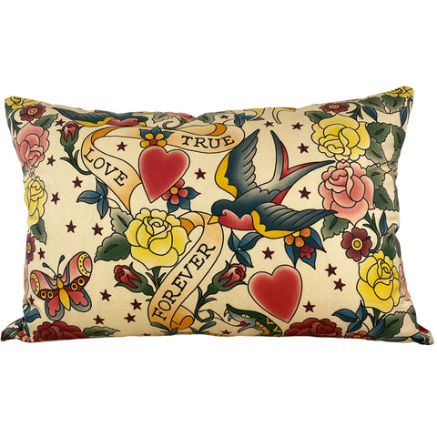 True Love Forever Tattoo Throw Pillow 17x25""