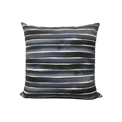 Watercolour Stripe Blues Throw Pillow 17x17""