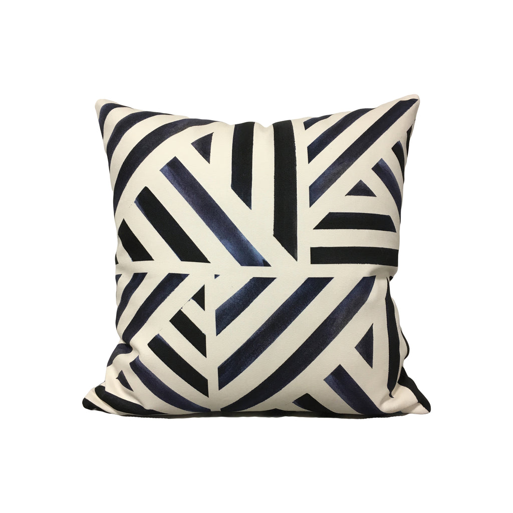 Watercolour Stripe Midnight Throw Pillow 17x17""