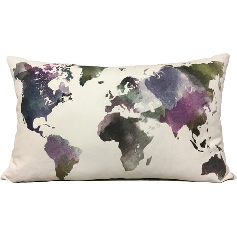 Watercolour World Throw Pillow 15x27""