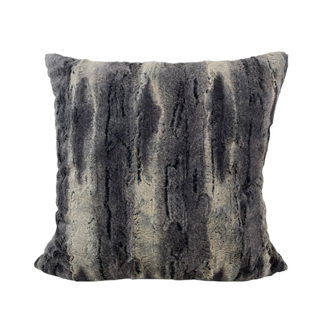 Whistler Black Fox Faux Fur Throw Pillow 20x20""