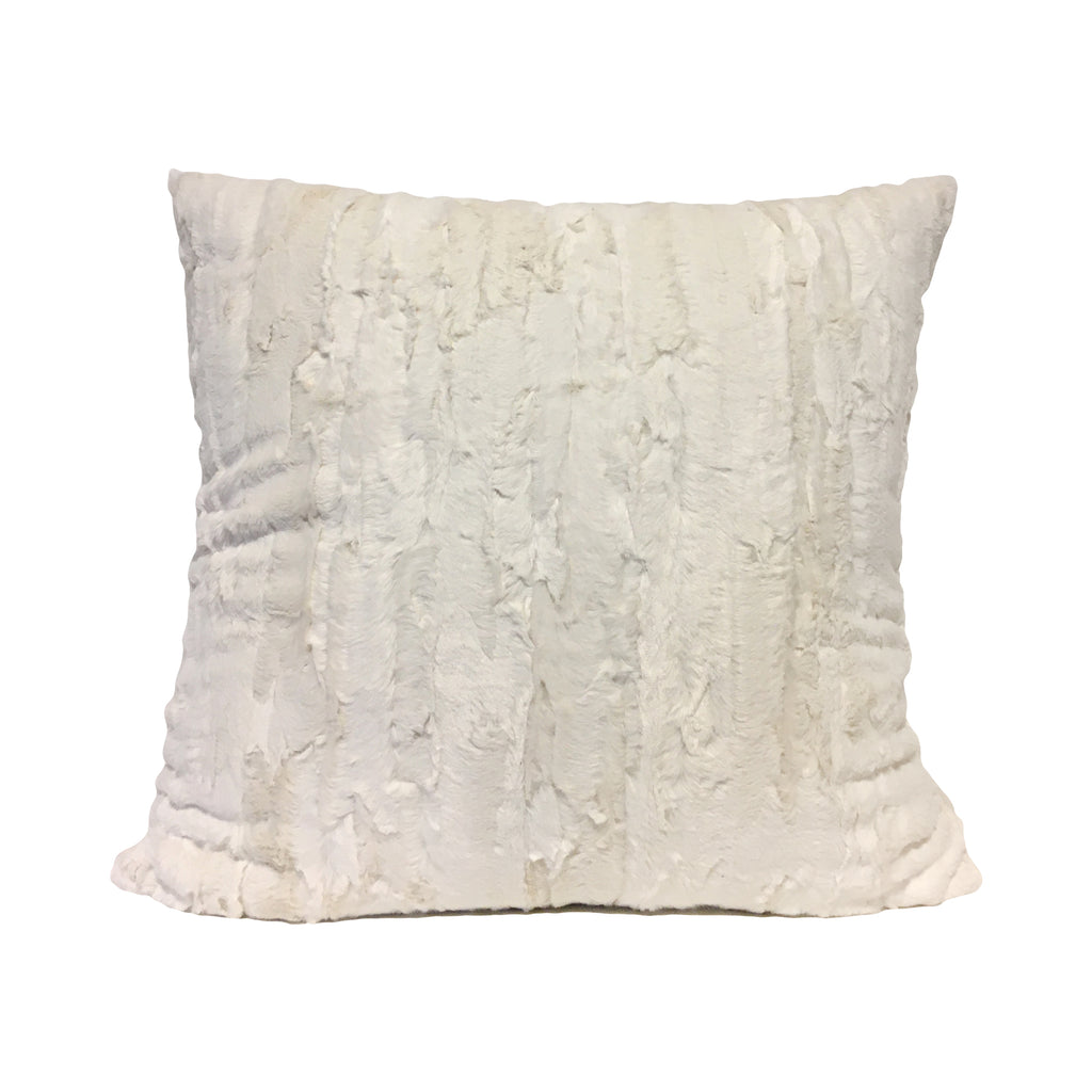 Willow Ivory Faux Fur Throw Pillow 20x20""