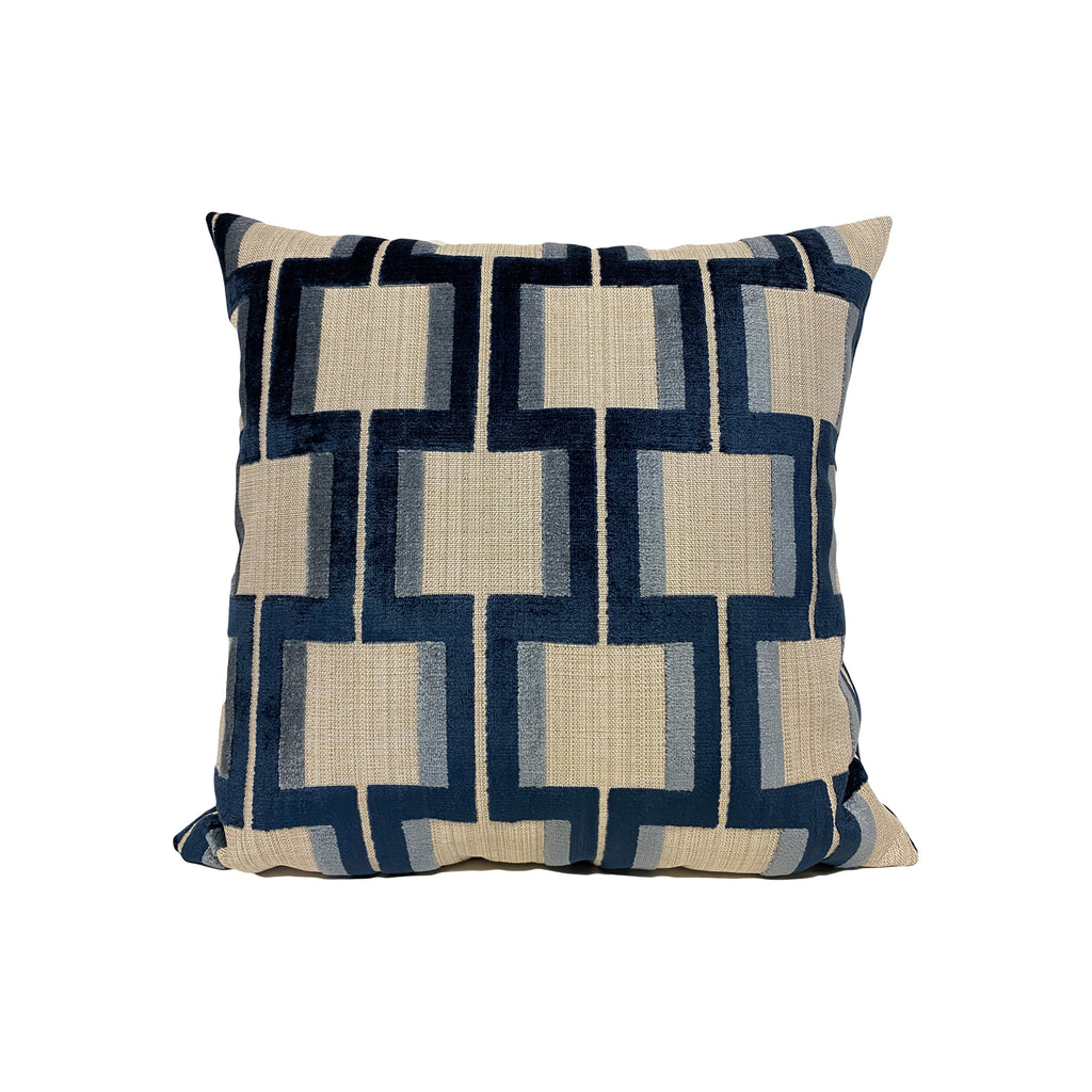 Wyndham Indigo Geometric Throw Pillow 17x17""