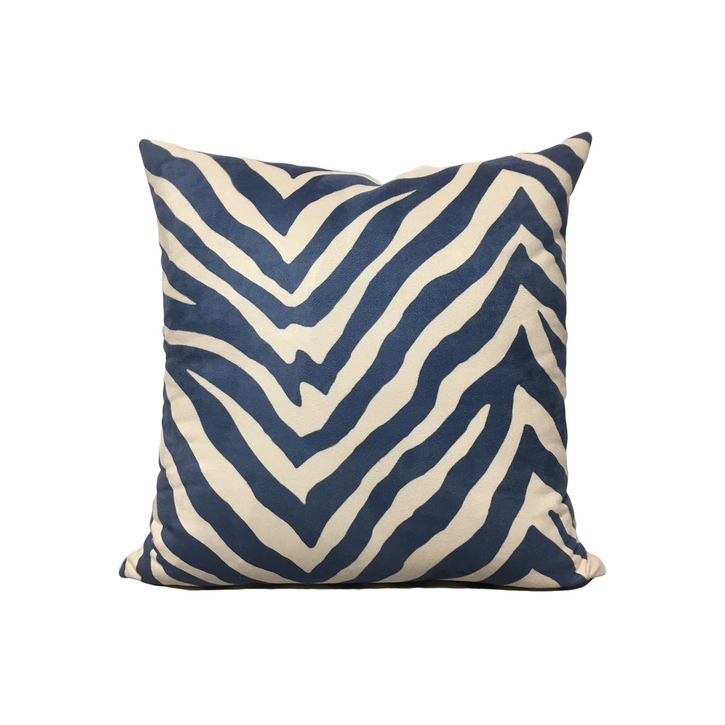 Zebra Navy Throw Pillow 17x17""