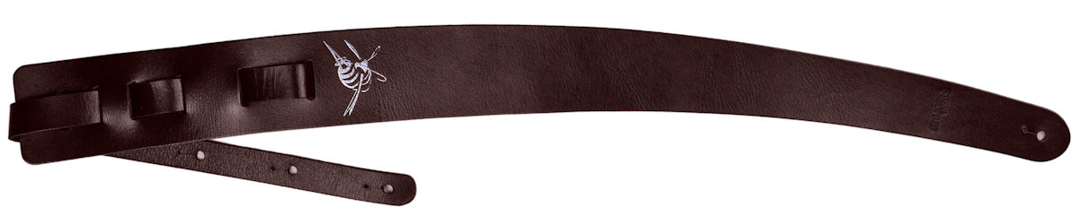Chocolate brown leather guitar strap - Playin Jane by Stinger Straps