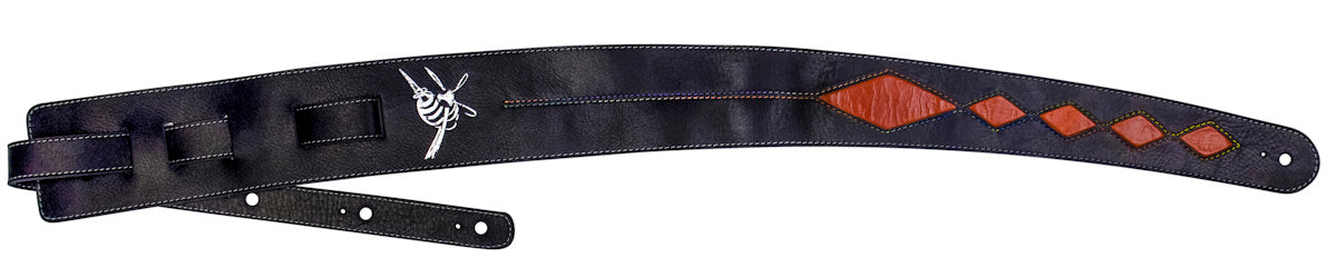 Premium leather guitar strap - Black/Burnt Orange CRAZY HORSE