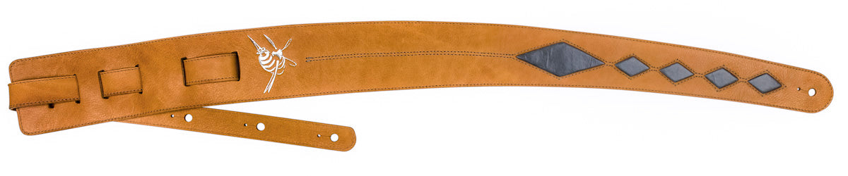 Leather guitar strap - Tan and Grey Crazy Horse