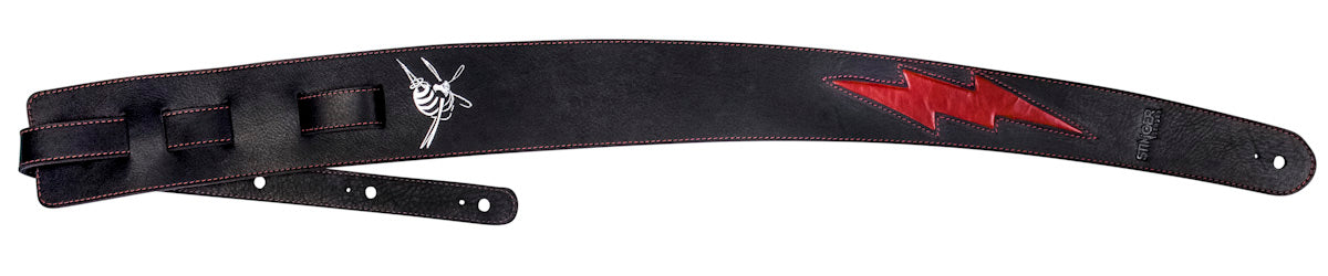 Black + Red luxury guitar strap - Leather strap GENERATOR