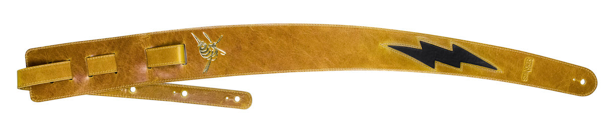 Mustard Yellow Guitar Strap - Premium Leather Stinger Straps