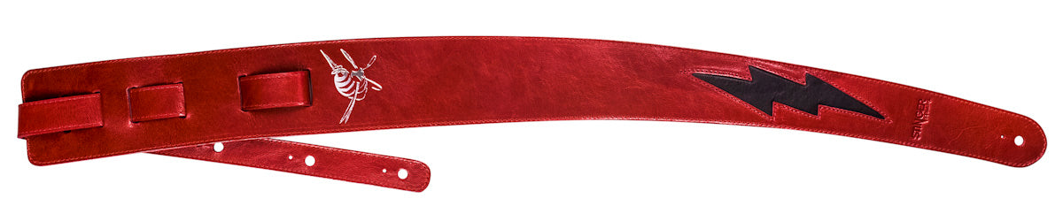 Red leather guitar strap - Lightening bolt GENERATOR strap