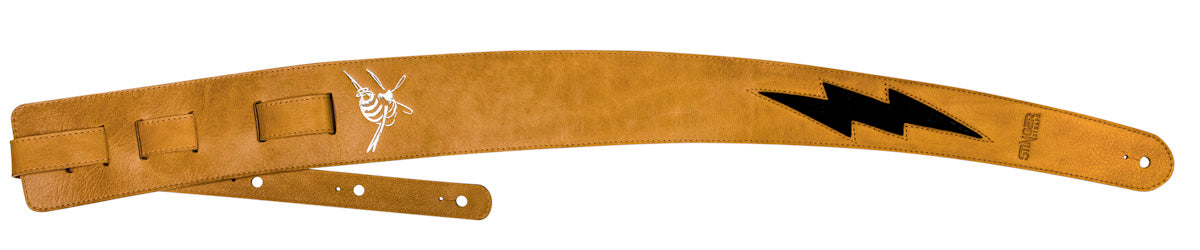 Tan brown leather guitar strap - The Generator by Stinger Straps
