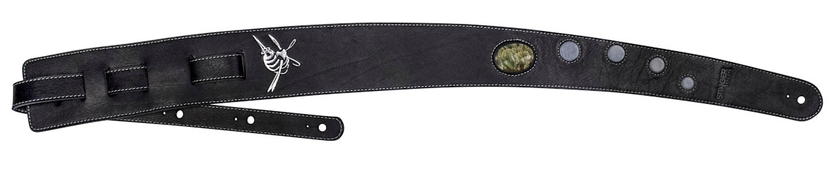 Leather guitar strap - LUV CHILD with moonstone
