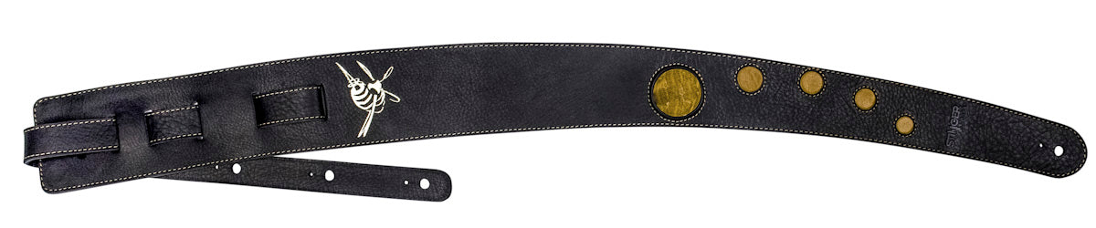 Black leather guitar strap - LUV CHILD with Tiger Orange