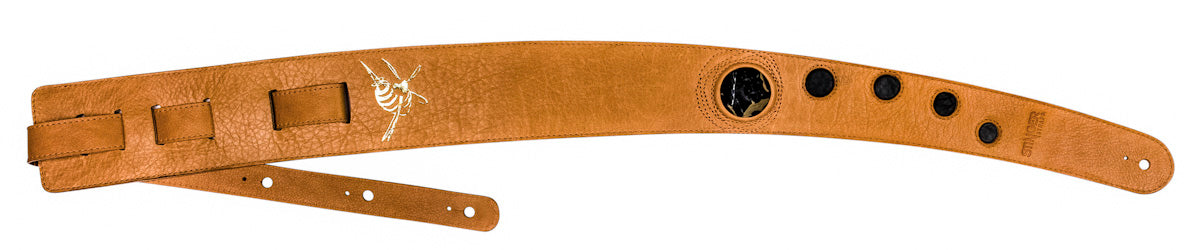 Tan brown leather guitar strap - LUV CHILD with Obsidian stone